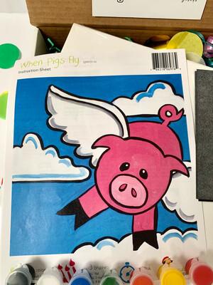 When Pigs Fly KIDS Acrylic Paint On Canvas DIY Art Kit