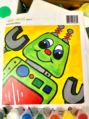 Robot KIDS Acrylic Paint On Canvas DIY Art Kit