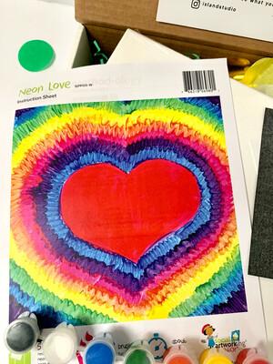 Neon Heart KIDS Acrylic Paint On Canvas DIY Art Kit