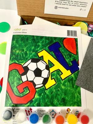 Soccer Goal KIDS Acrylic Paint On Canvas DIY Art Kit
