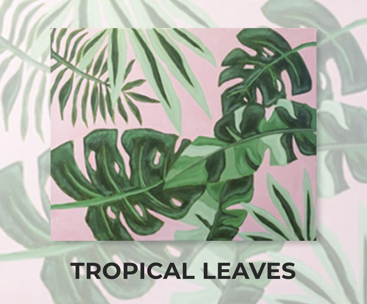 Tropical Leaves ADULT Acrylic Paint On Canvas DIY Art Kit