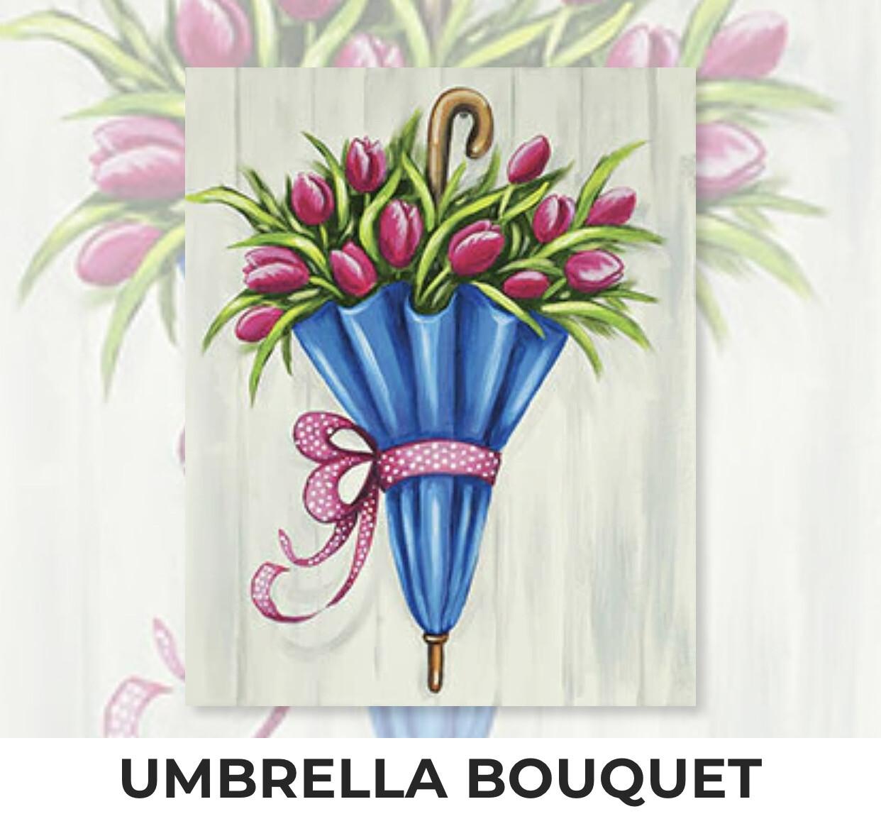 Umbrella Bouquet ADULT Acrylic Paint On Canvas DIY Art Kit - 3 Week Special Order