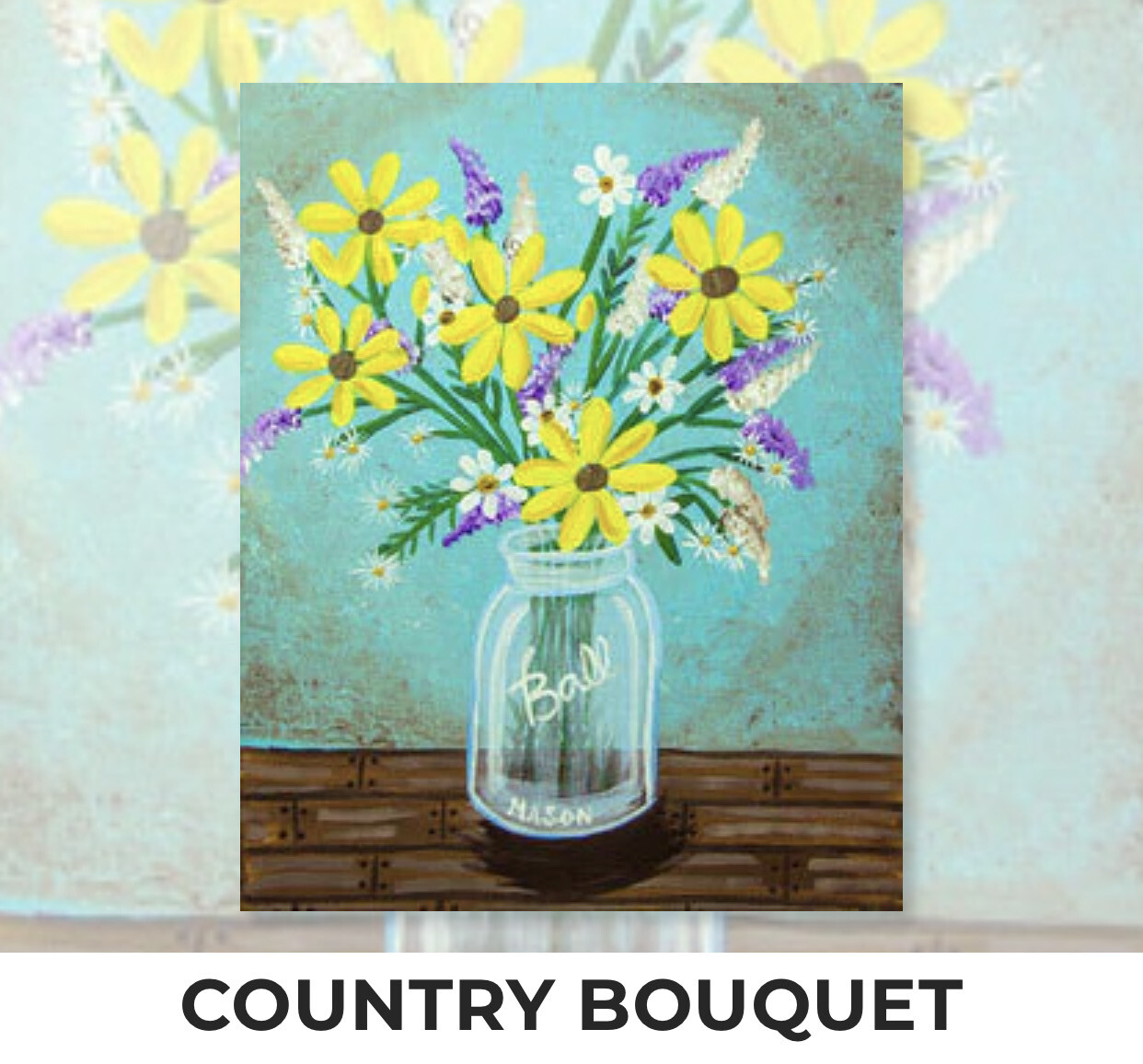 Country Bouquet ADULT Acrylic Paint On Canvas DIY Art Kit