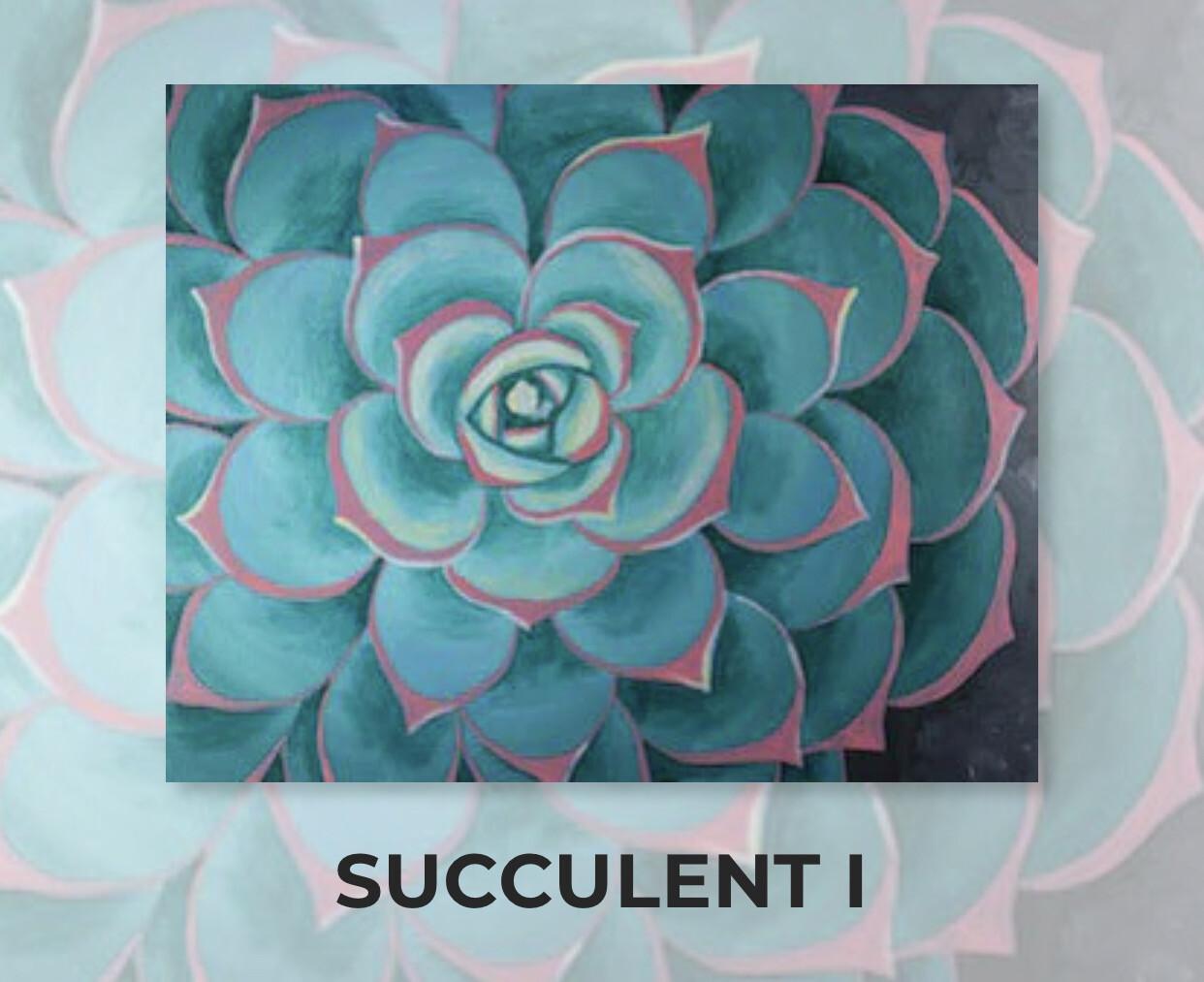 Succulent I ADULT Acrylic Paint On Canvas DIY Art Kit