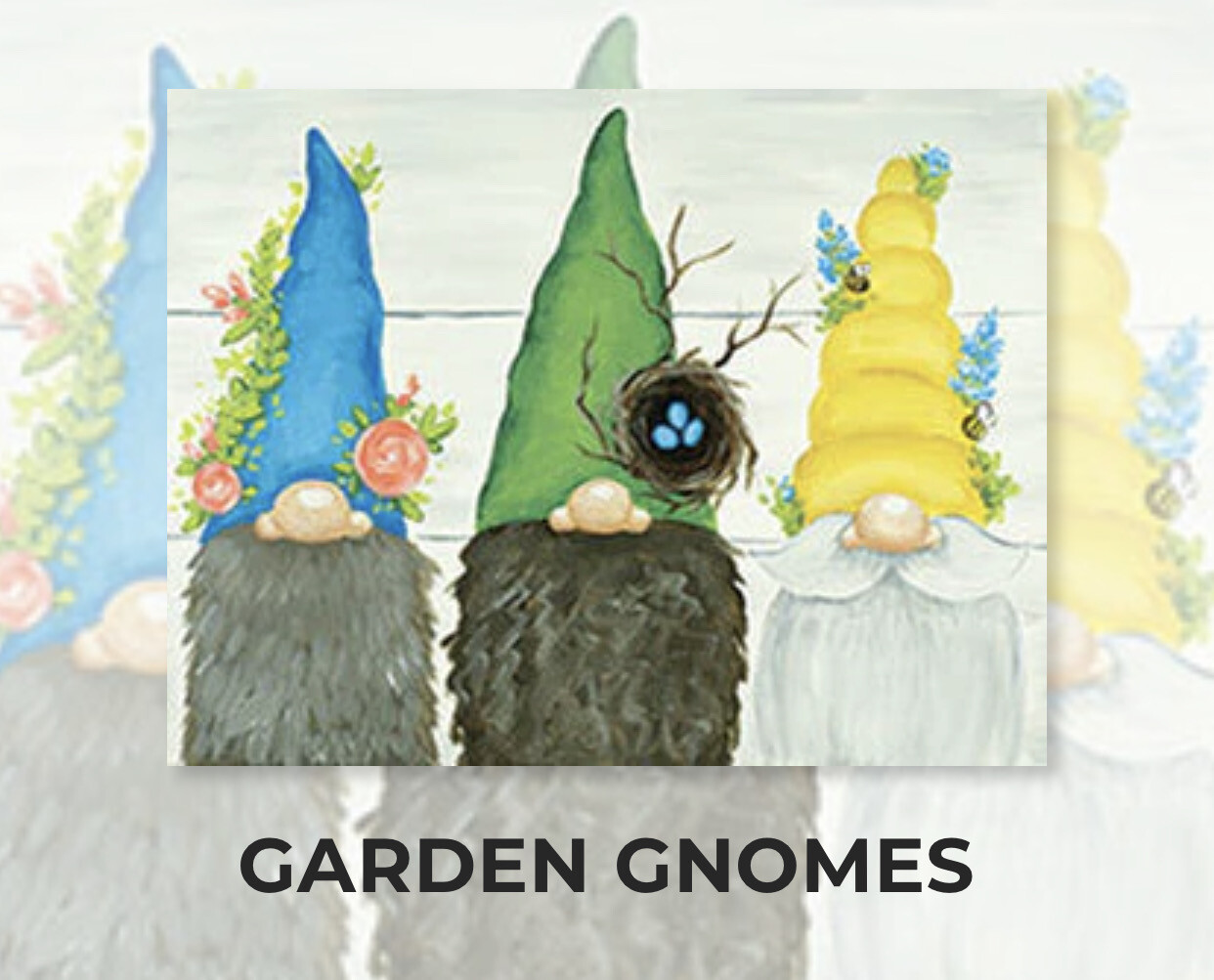 Garden Gnomes ADULT Acrylic Paint On Canvas DIY Art Kit - 3 Week Special Order