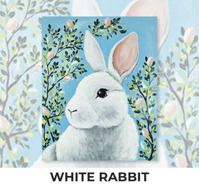 ADULT Acrylic Paint On Canvas DIY Art Kit - White Rabbit
