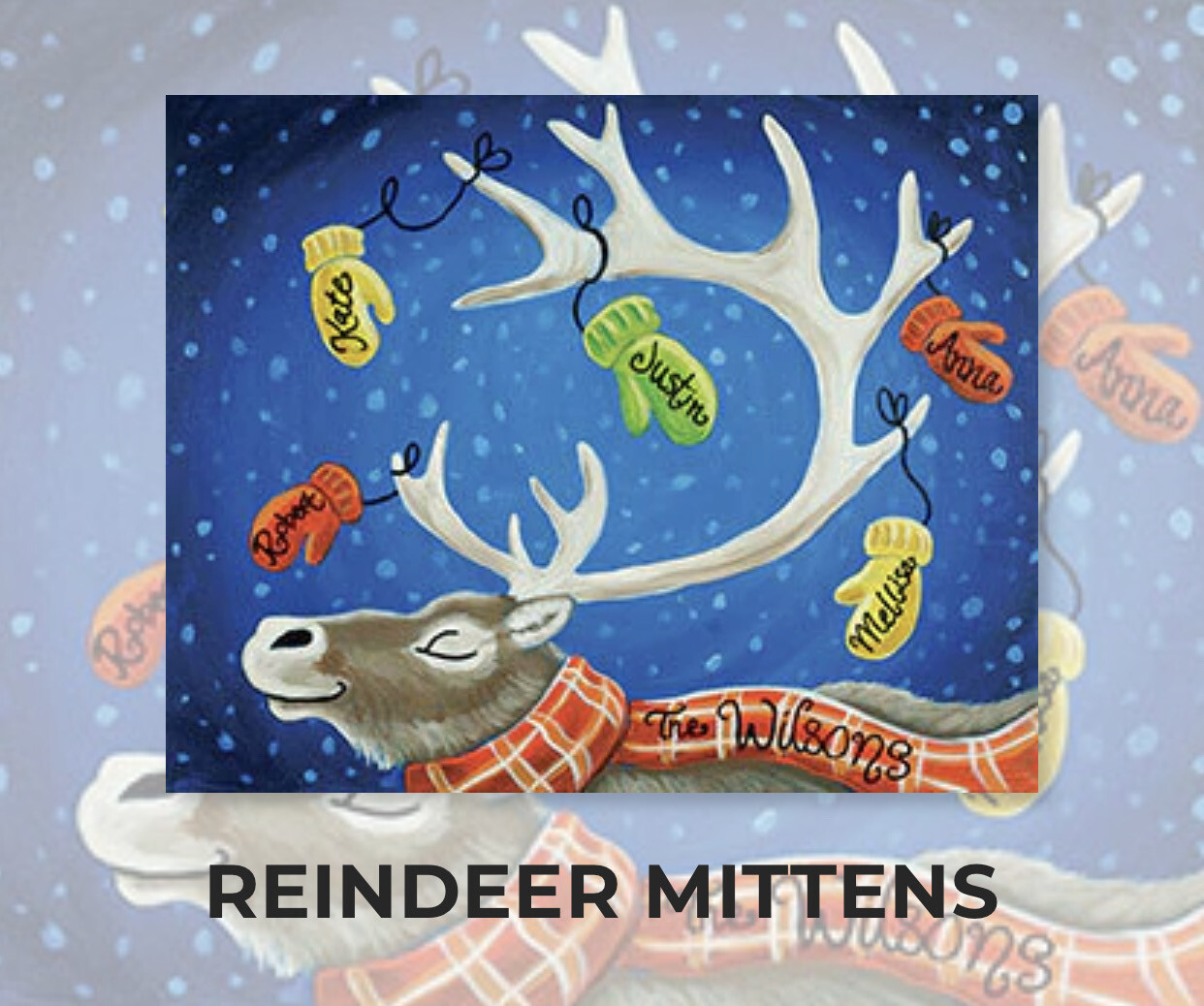 Reindeer Mittens ADULT Acrylic Paint On Canvas DIY Art Kit - 3 Week Special Order