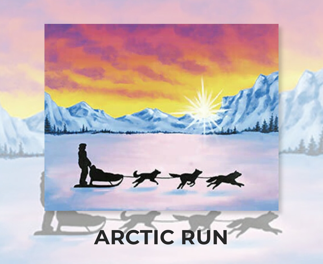 Arctic Run ADULT Acrylic Paint On Canvas DIY Art Kit - 3 Week Special Order