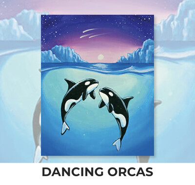 Dancing Orcas ADULT Acrylic Paint On Canvas DIY Art Kit - 3 Week Special Order