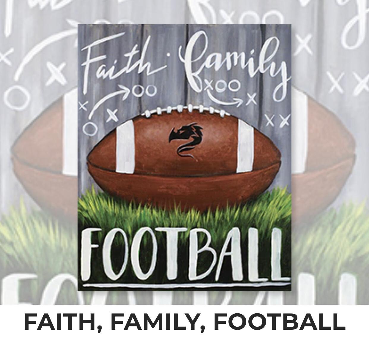 Faith, Family, Football ADULT Acrylic Paint On Canvas DIY Art Kit - 3 Week Special Order