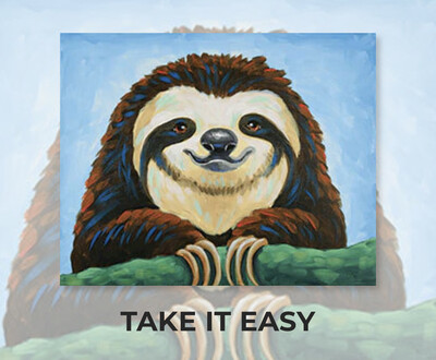 ADULT Acrylic Paint On Canvas DIY Art Kit - Take It Easy - Sloth