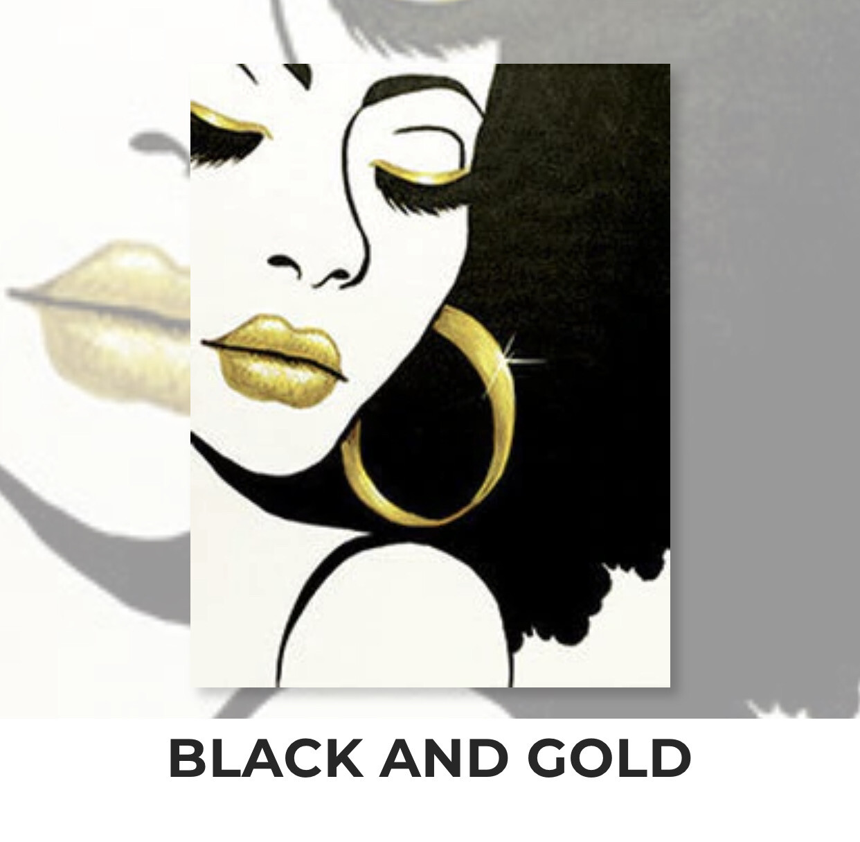 Black And Gold ADULT Acrylic Paint On Canvas DIY Art Kit - 3 Week Special Order