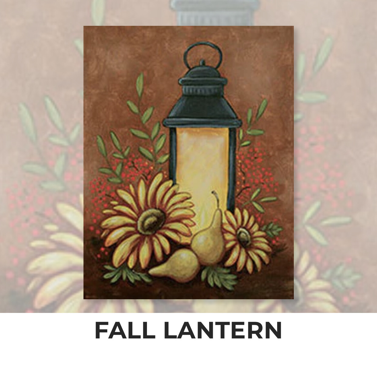 Fall Lantern ADULT Acrylic Paint On Canvas DIY Art Kit - 3 Week Special Order