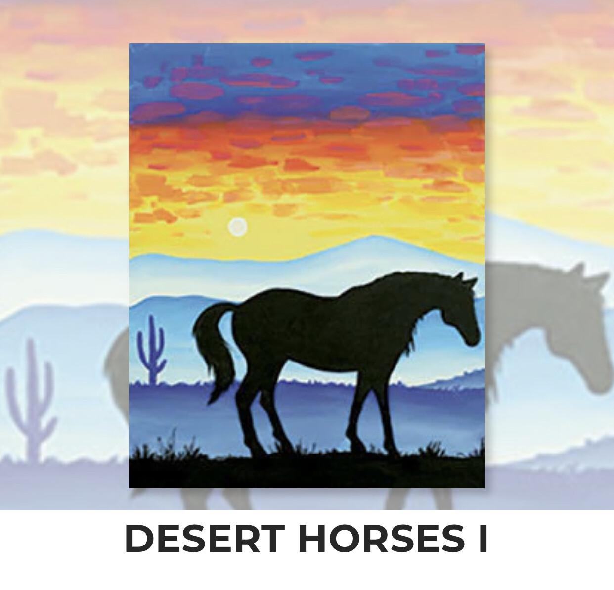 Desert Horses I ADULT Acrylic Paint On Canvas DIY Art Kit - 3 Week Special Order