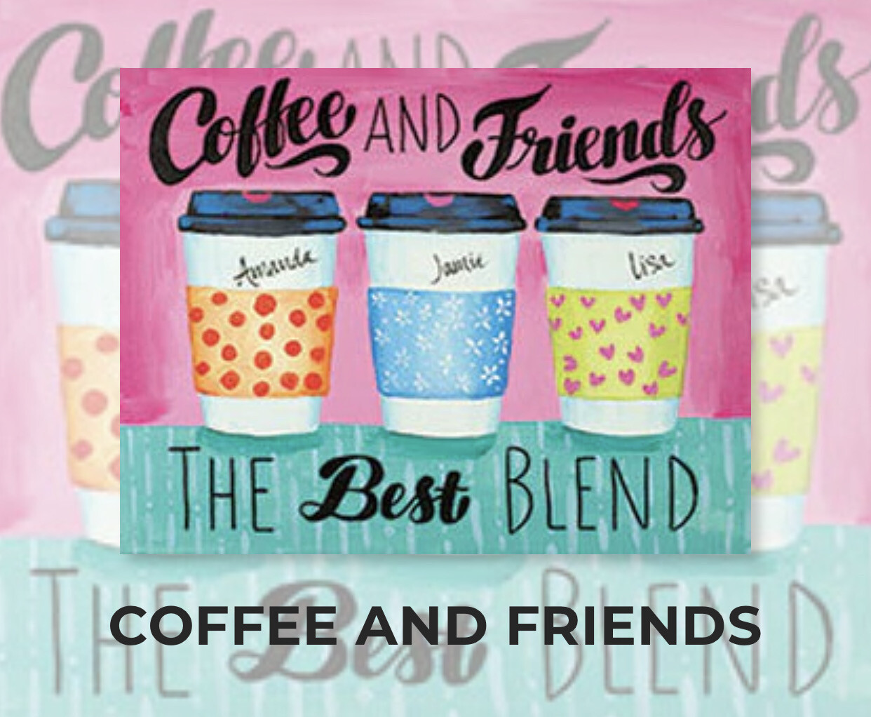 Coffee And Friends ADULT Acrylic Paint On Canvas DIY Art Kit - 3 Week Special Order