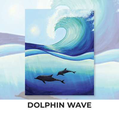 Dolphin Wave ADULT Acrylic Paint On Canvas DIY Art Kit - 3 Week Special Order