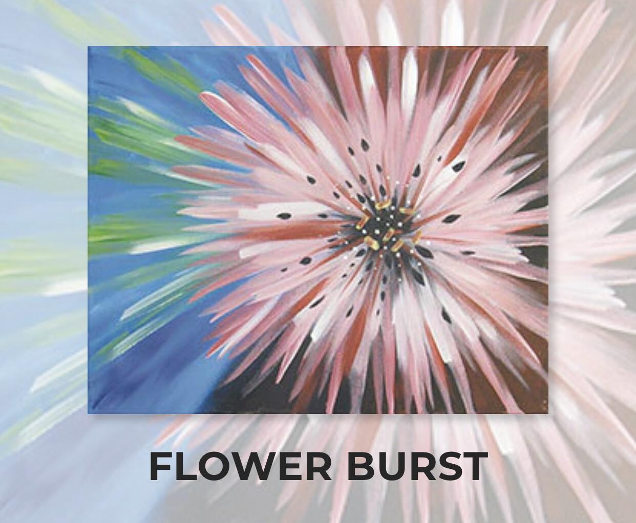 Flower Burst ADULT Acrylic Paint On Canvas DIY Art Kit - 3 Week Special Order