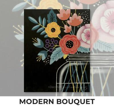 ADULT Acrylic Paint On Canvas DIY Art Kit - Modern Bouquet