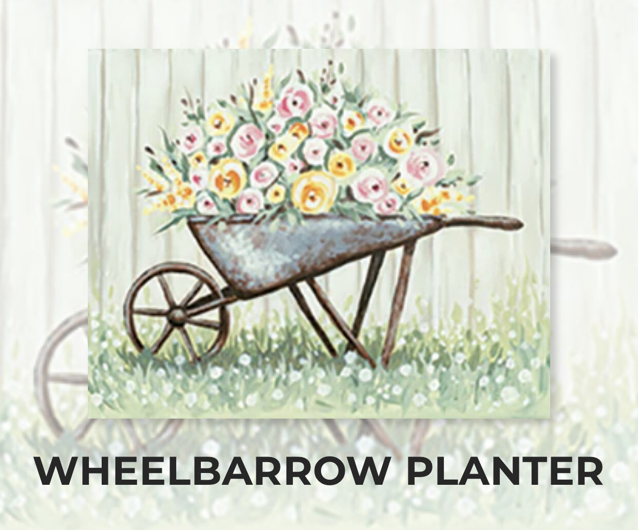 Wheelbarrow Planter ADULT Acrylic Paint On Canvas DIY Art Kit - 3 Week Special Order