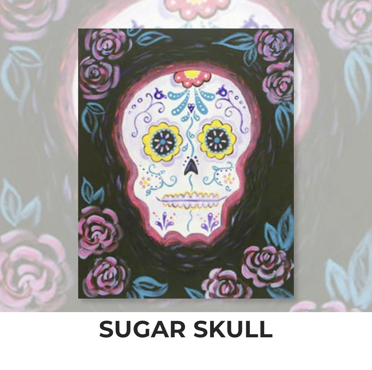 Sugar Skull ADULT Acrylic Paint On Canvas DIY Art Kit - 3 Week Special Order