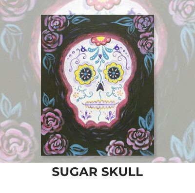 Sugar Skull ADULT Acrylic Paint On Canvas DIY Art Kit - 3 Week Special Order