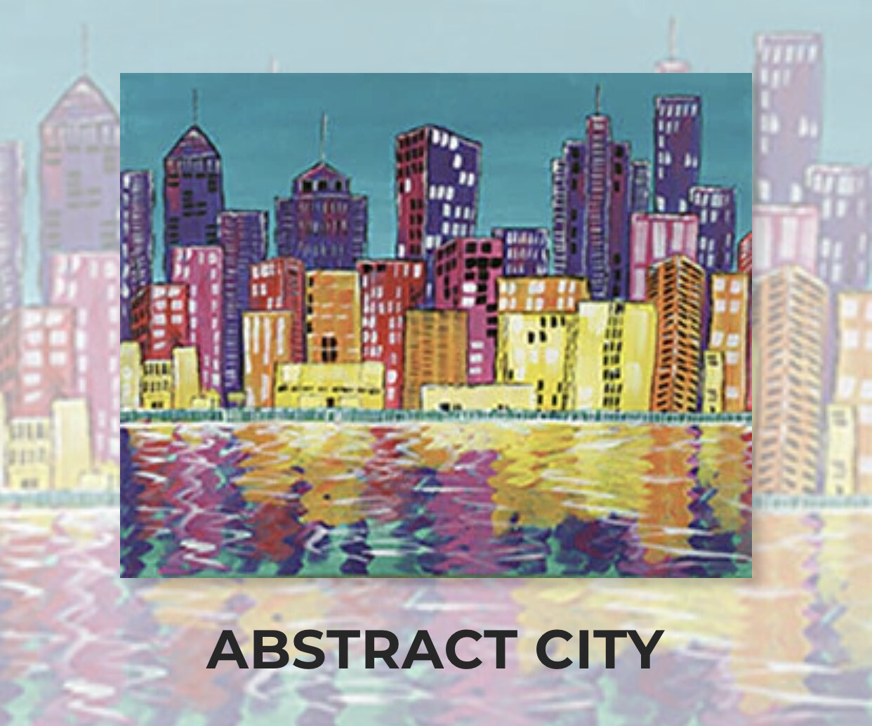 Abstract City ADULT Acrylic Paint On Canvas DIY Art Kit - 3 Week Special Order