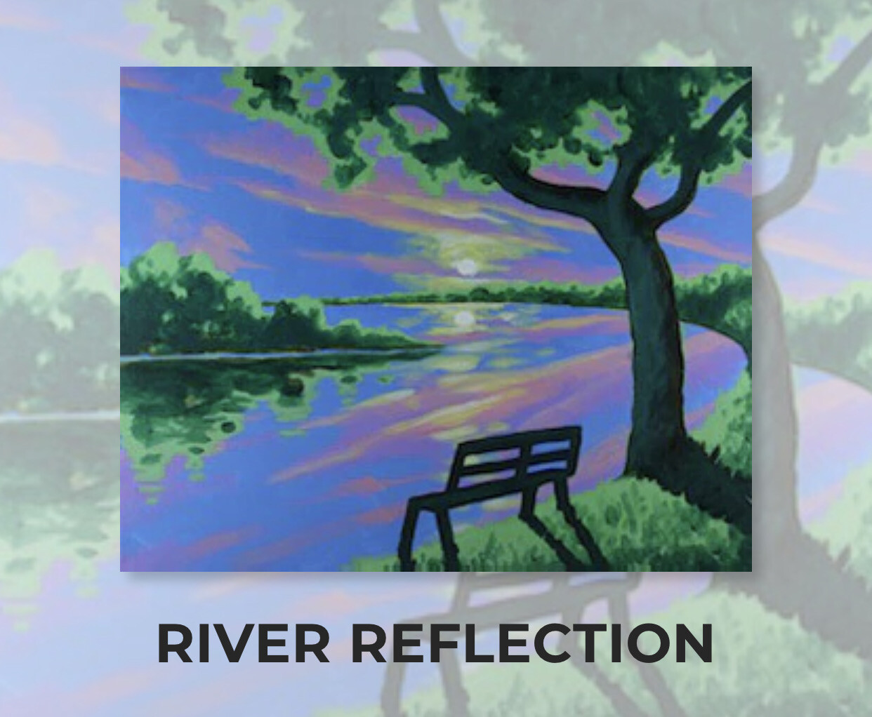 River Reflection ADULT Acrylic Paint On Canvas DIY Art Kit - 3 Week Special Order