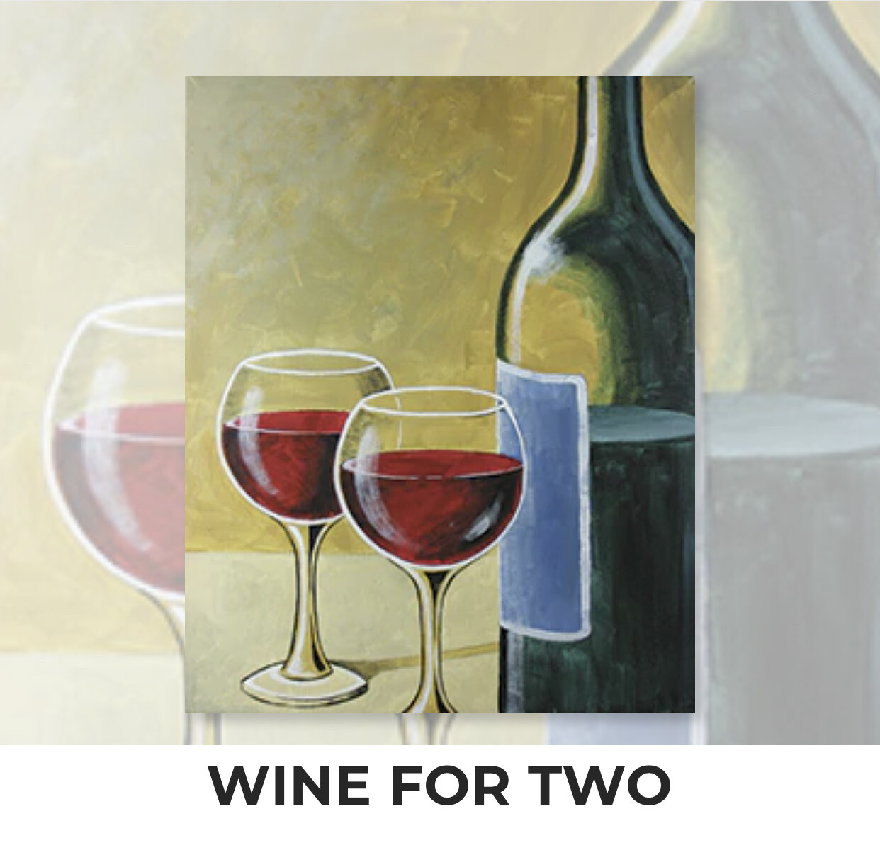 Wine For Two ADULT Acrylic Paint On Canvas DIY Art Kit - 3 Week Special Order