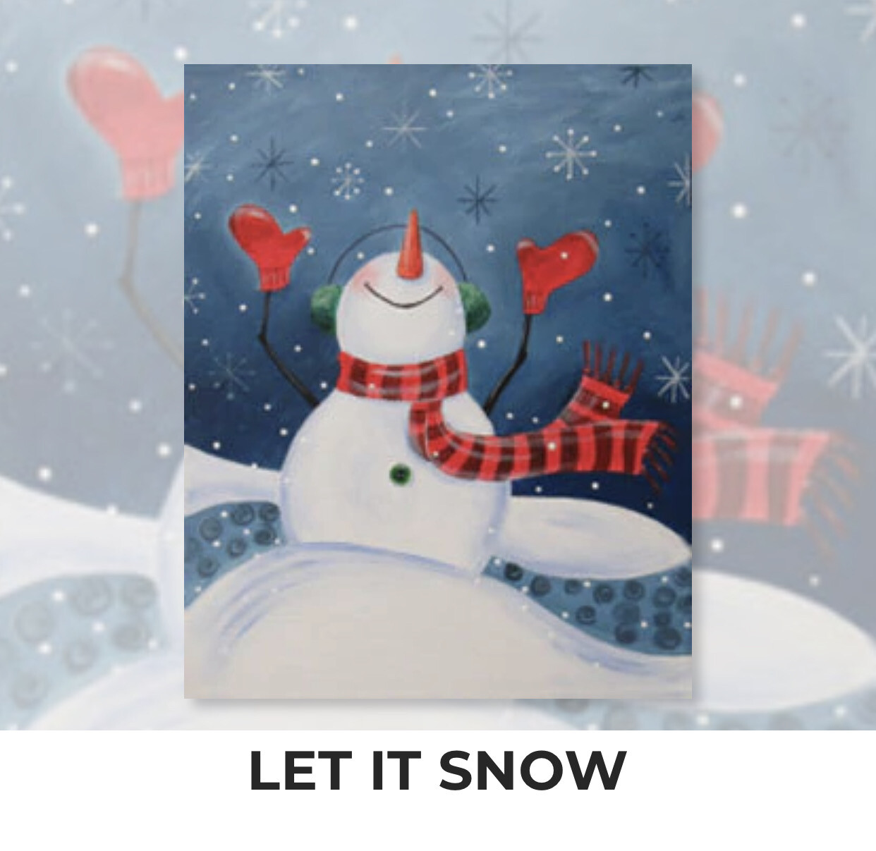 Let It Snow ADULT Acrylic Paint On Canvas DIY Art Kit - 3 Week Special Order