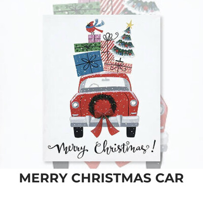 Merry Christmas Car ADULT Acrylic Paint On Canvas DIY Art Kit - 3 Week Special Order