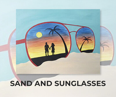 Sand And Sunglasses ADULT Acrylic Paint On Canvas DIY Art Kit - 3 Week Special Order