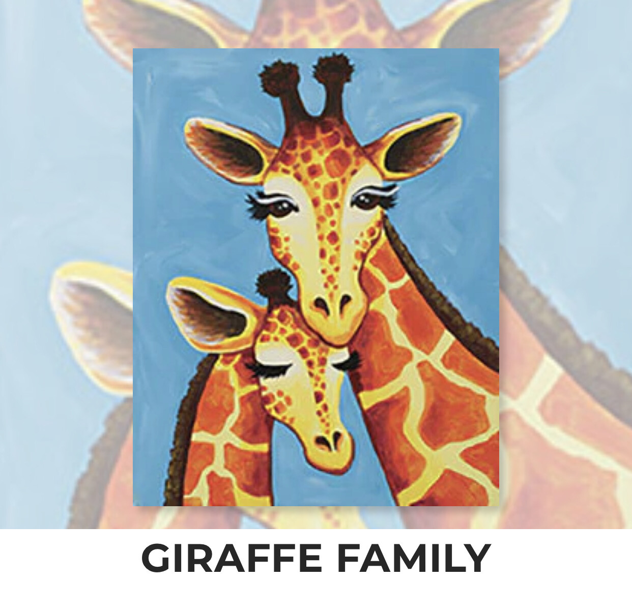 Giraffe Family ADULT Acrylic Paint On Canvas DIY Art Kit - 3 Week Special Order