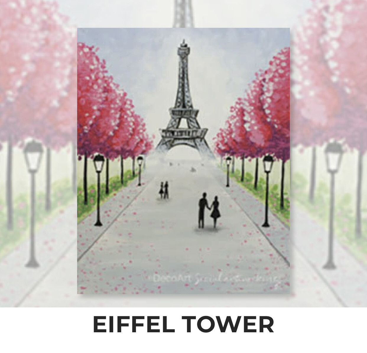 Eiffel Tower ADULT Acrylic Paint On Canvas DIY Art Kit - 3 Week Special Order