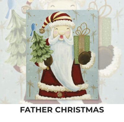 Father Christmas ADULT Acrylic Paint On Canvas DIY Art Kit - 3 Week Special Order