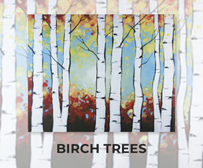 Birch Trees ADULT Acrylic Paint On Canvas DIY Art Kit - 3 Week Special Order