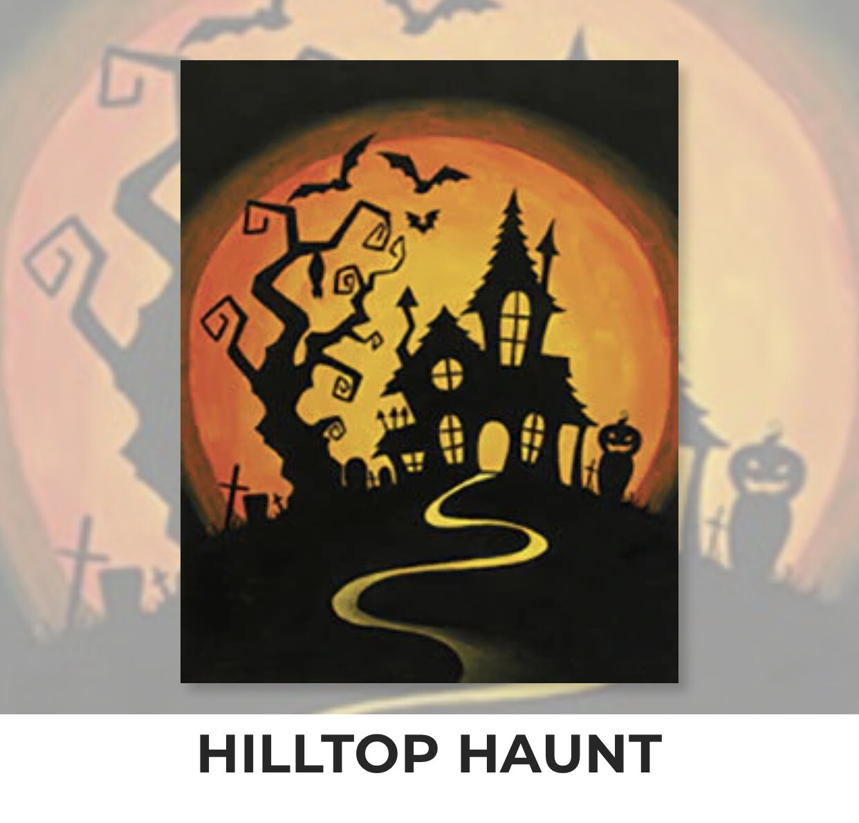 Hilltop Haunt ADULT Acrylic Paint On Canvas DIY Art Kit - 3 Week Special Order