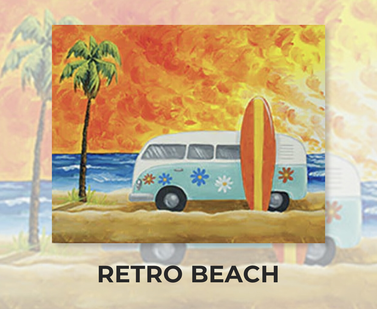 Retro Beach ADULT Acrylic Paint On Canvas DIY Art Kit - 3 Week Special Order