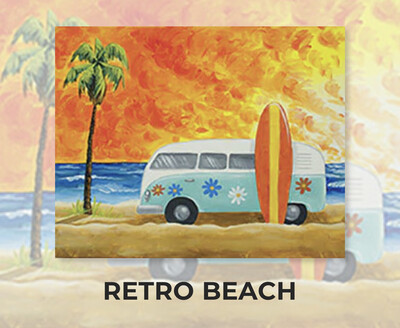 Retro Beach ADULT Acrylic Paint On Canvas DIY Art Kit - 3 Week Special Order