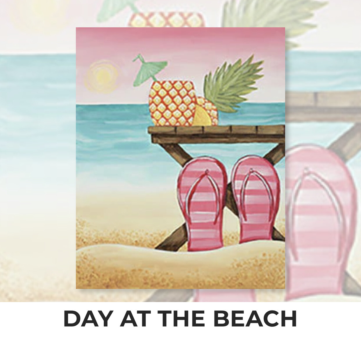 Day At The Beach ADULT Acrylic Paint On Canvas DIY Art Kit - 3 Week Special Order