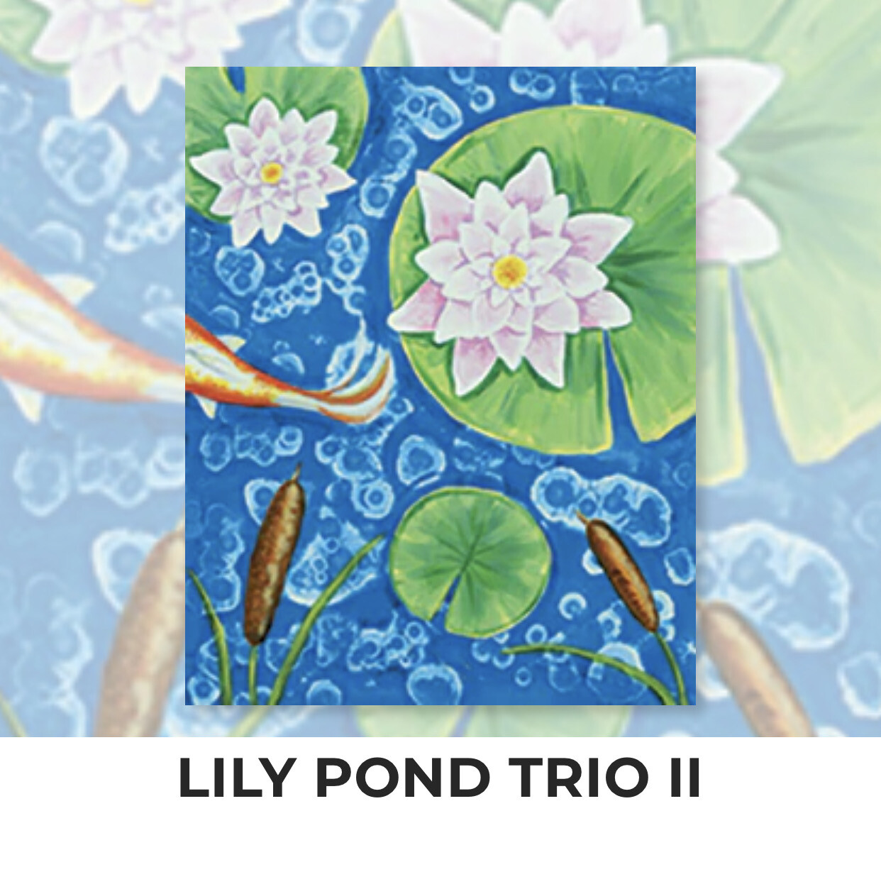 Lily Pond Trio II ADULT Acrylic Paint On Canvas DIY Art Kit - 3 Week Special Order