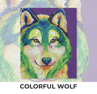 Colorful Wolf ADULT Acrylic Paint On Canvas DIY Art Kit - 3 Week Special Order