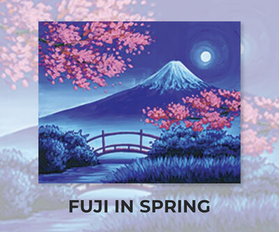 Fuji In Spring ADULT Acrylic Paint On Canvas DIY Art Kit - 3 Week Special Order