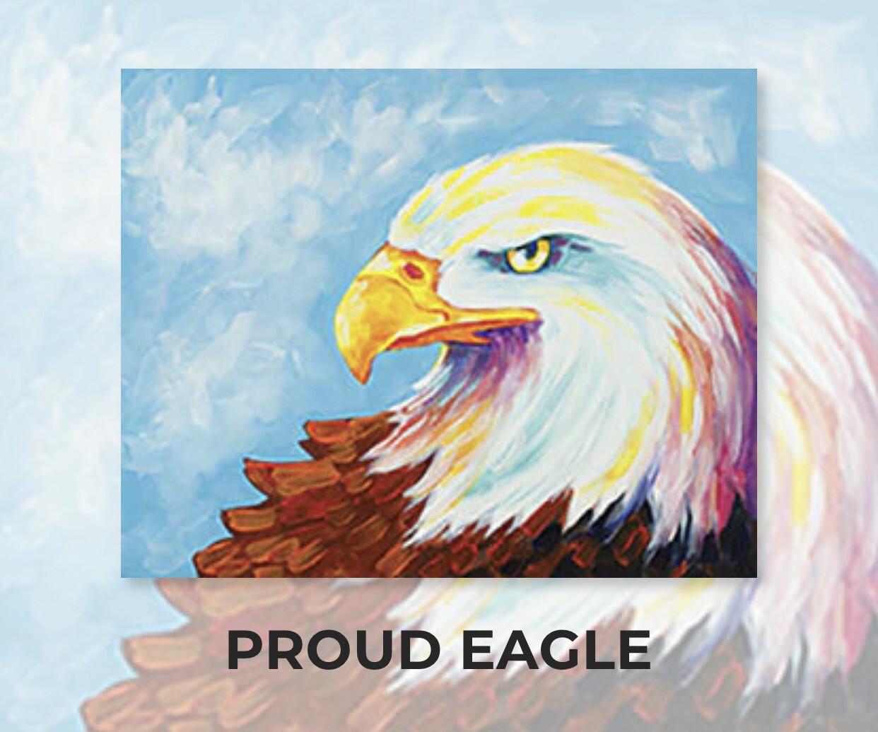 Proud Eagle ADULT Acrylic Paint On Canvas DIY Art Kit - 3 Week Special Order