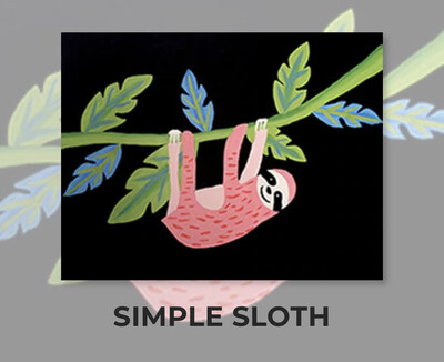 Simple Sloth ADULT Acrylic Paint On Canvas DIY Art Kit - 3 Week Special Order