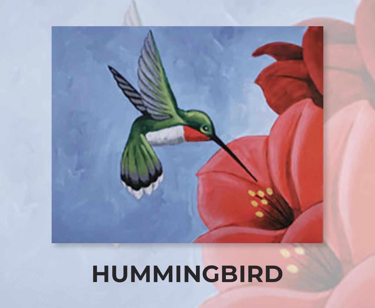 Hummingbird ADULT Acrylic Paint On Canvas DIY Art Kit - 3 Week Special Order