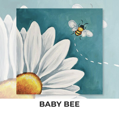 Baby Bee ADULT OR TWEEN Acrylic Paint On Canvas DIY Art Kit - 3 Week Special Order