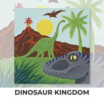 Dinosaur Kingdom KIDS Acrylic Paint On Canvas DIY Art Kit - 3 Week Special Order