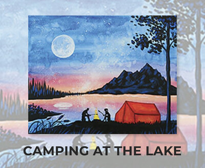 Camping At The Lake ADULT Acrylic Paint On Canvas DIY Art Kit - 3 Week Special Order