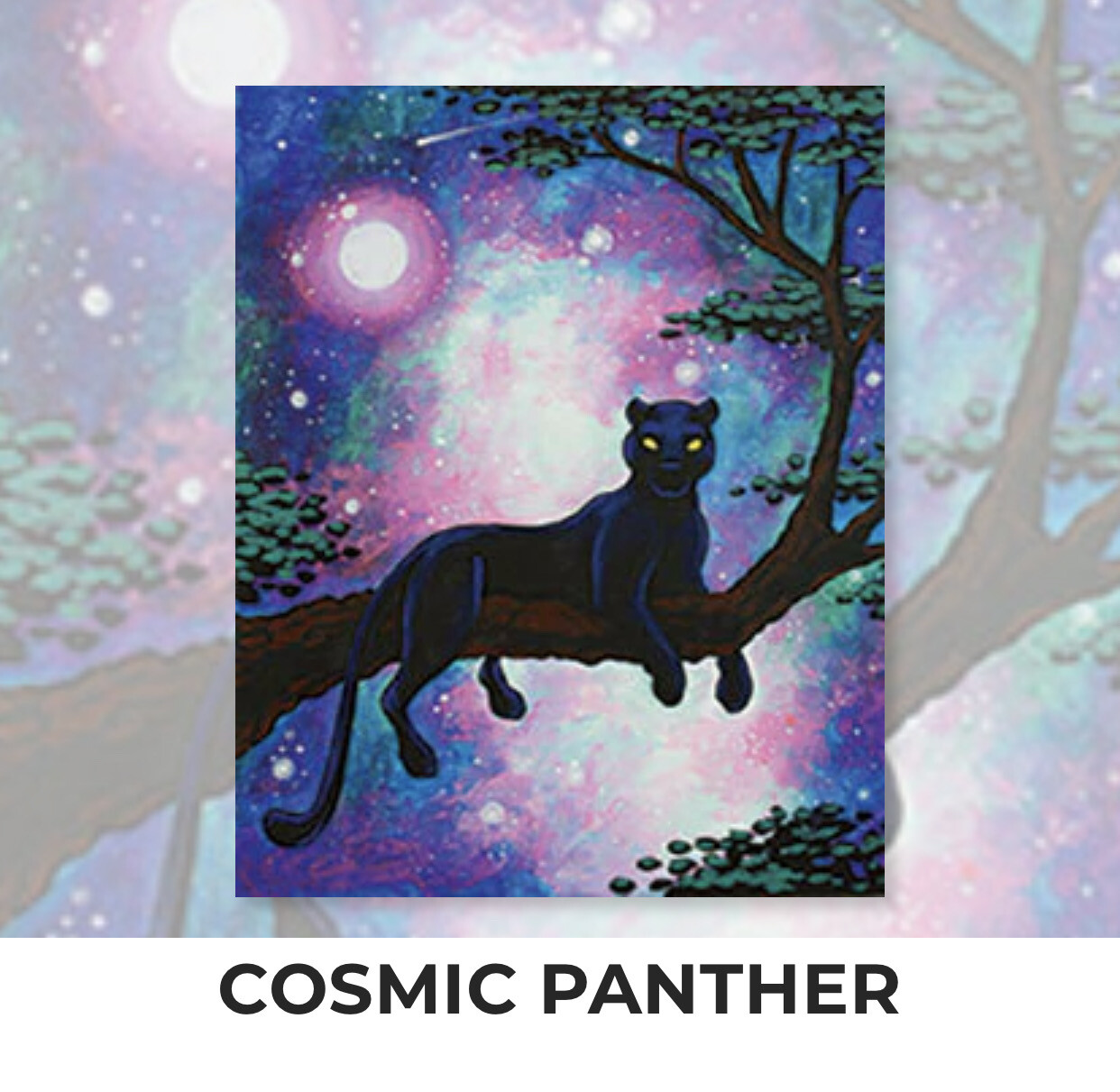 Cosmic Panther ADULT Acrylic Paint On Canvas DIY Art Kit - 3 Week Special Order