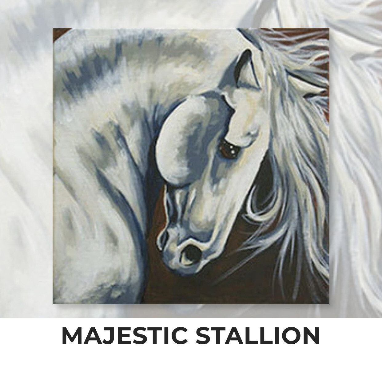 Majestic Stallion ADULT OR TWEEN Acrylic Paint On Canvas DIY Art Kit - 3 Week Special Order